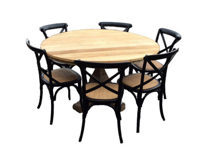 Bordeaux 7 Pce Round Dining Setting with Bella Chairs