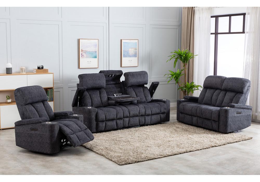 Dawson 3 Seater Electric Theatre Sofa + 2 Recliner Chairs