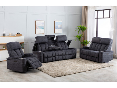 Dawson 3 Seater Electric Theatre Sofa + 2 Recliner Chairs