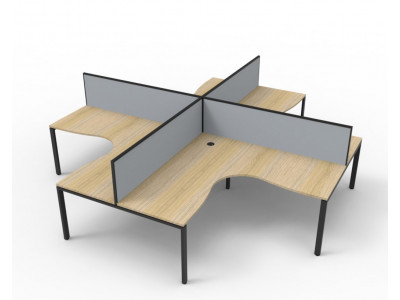 Deluxe 4 Person Corner Workstation with Screens 1500mm