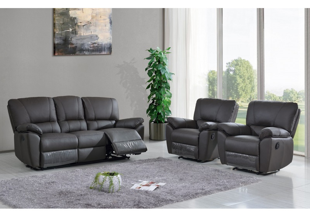 Frederick 3 Seater with Twin Recliners + 2 Recliners Chocolate