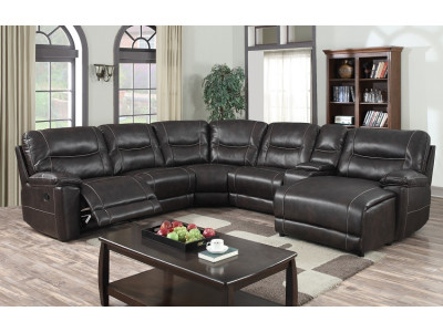 Oberon Sectional Suite with Recliner and Chaise Chocolate